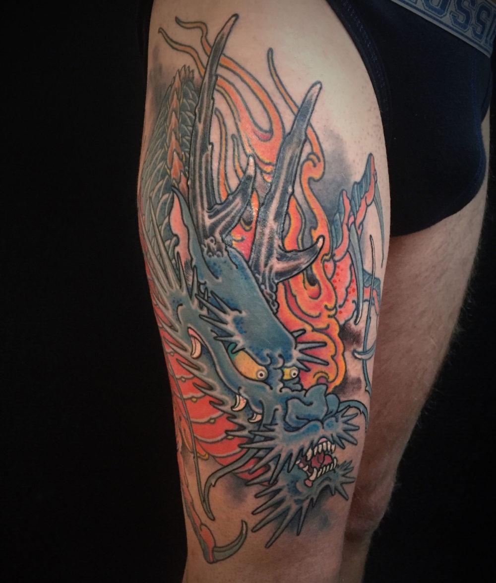 Blue Leg Dragon Tattoo