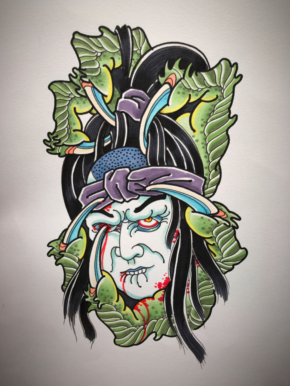 Claws and Head Tattoo Illustration