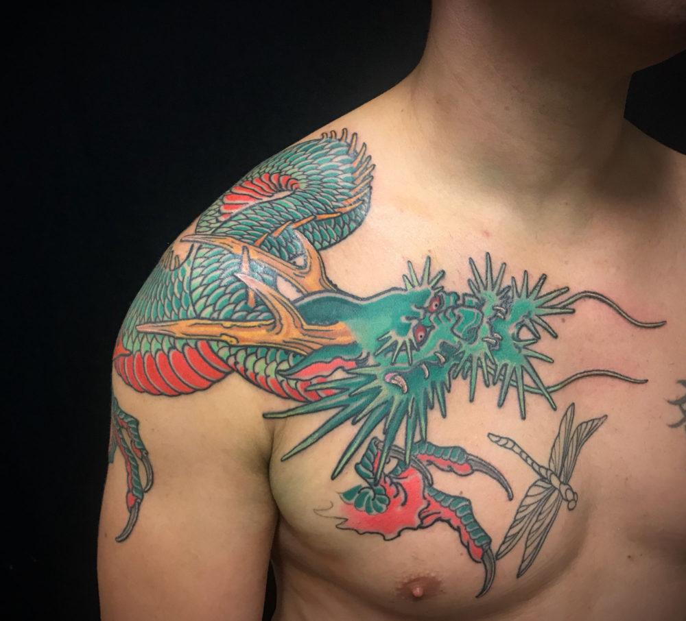 Dragon Shoulder Front Tattoo