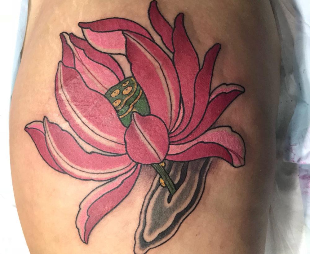 Freehand Pink Lotus Tattoo