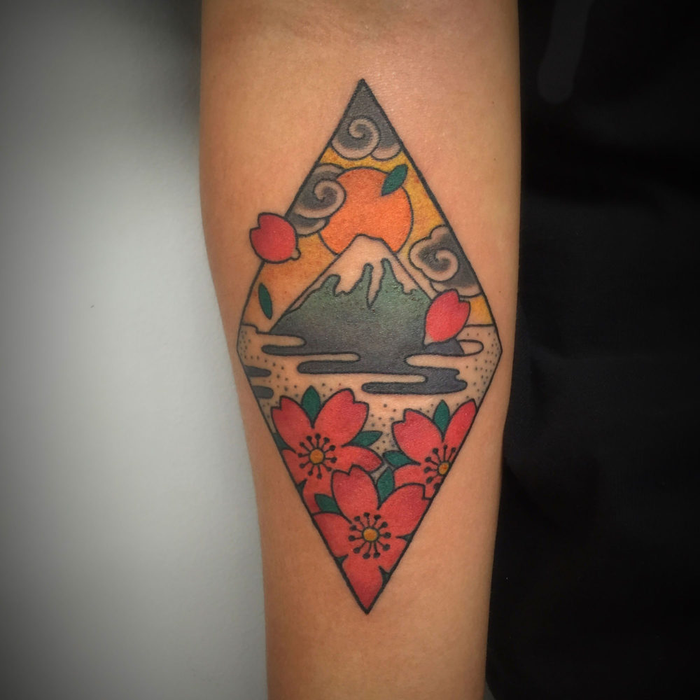Fuji and Blossom Tattoo