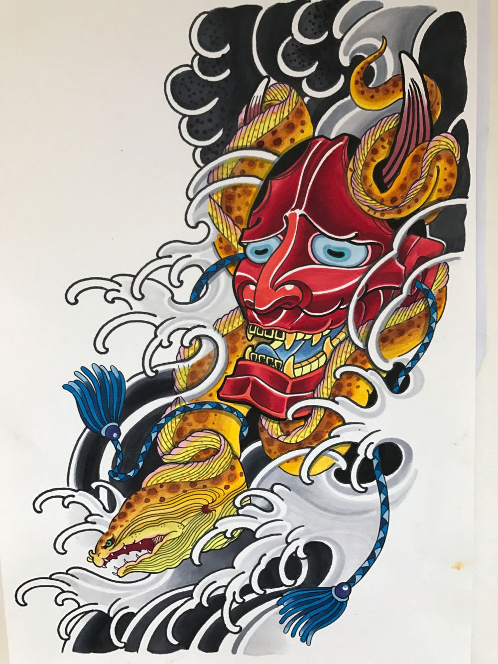Moray Eel & Hannya Tattoo Illustration