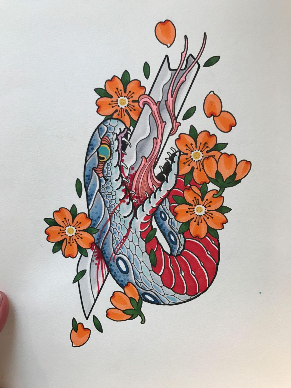 Snake and Blade Tattoo Illustration