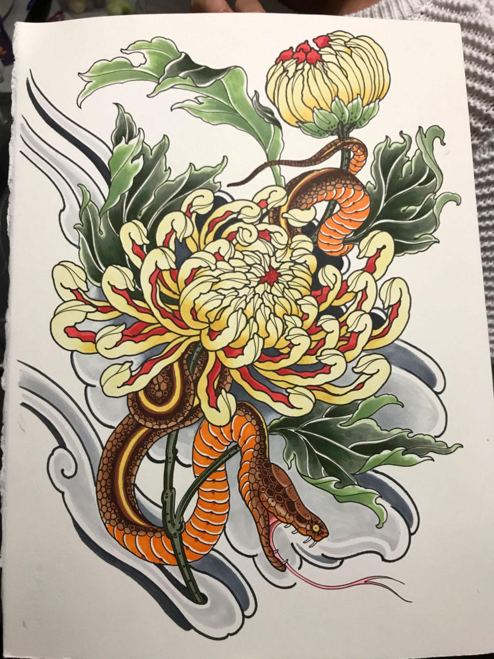 Snake and Peony Tattoo Illustration