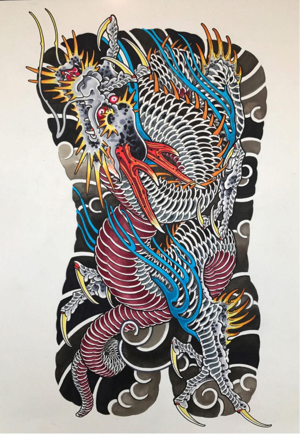 Dragon Back Painting Tattoo