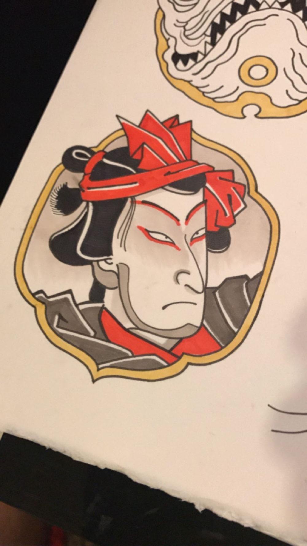 Man Tsuba Tattoo Illustration